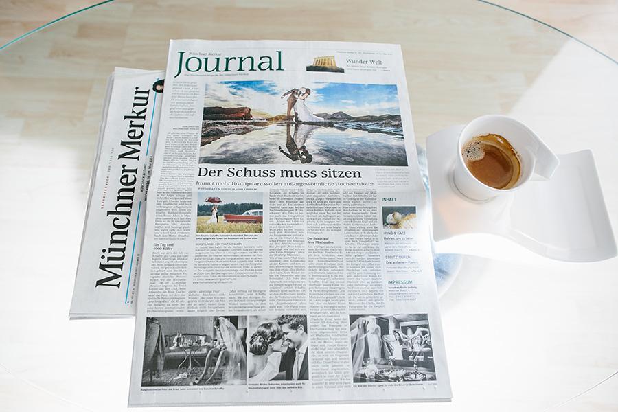 Alex Ginis - Hochzeitsfotograf München  Veröffentlichung in der Münchner Merkur Tageszeitung - Artikel über moderne Hochzeitsfotografie in München